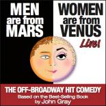 "The image is divided in half from top to bottom. The left features a mans face with ""Men are From Mars"" on a black background and the right shows a woman's face and reads ""Women are From Venus"" on a white background."