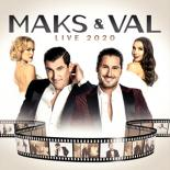 Maks and Val Chmerkovskiy stand in the middle of the image with movie film situated below them. Their spouses, Peta Murgatroyd and Jenna Johnson, stand behind them.