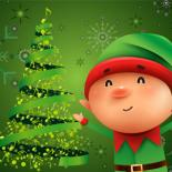 A smiling elf dressed in red and green is standing in front of a shining Christmas tree