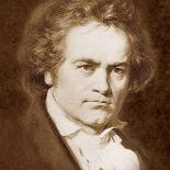 A black and white portrait of Beethoven