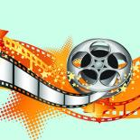 An image with a light green background and a movie reel spinning open in the center with orange stars behind it