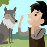 A cartoon image with a wolf on the left and a young boy on the right