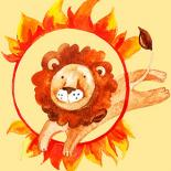 A cartoon image of a lion jumping through a flame hoop