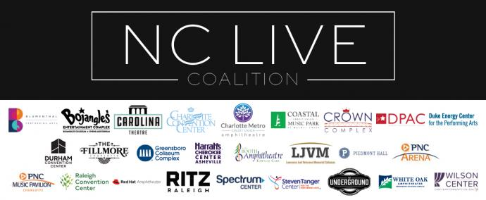 The NC Live Coalition logo in black and white with the venue logos for all participating organizations