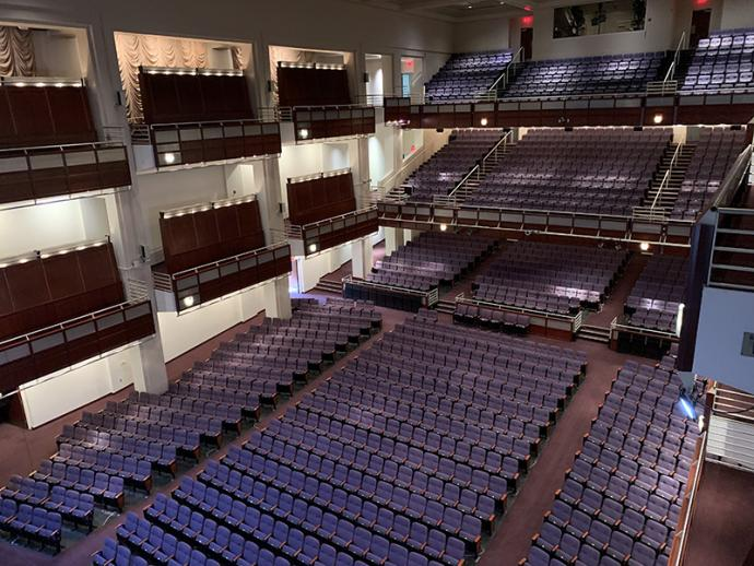 A view  from the upper balcony boxes of Meymandi Concert Hall's orchestra and balcony levels with our new purple seats