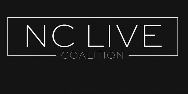 The NC Live Coalition logo in white on a black background