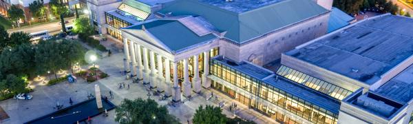 An aerial view of the front of the Duke Energy Center for the Performing Arts