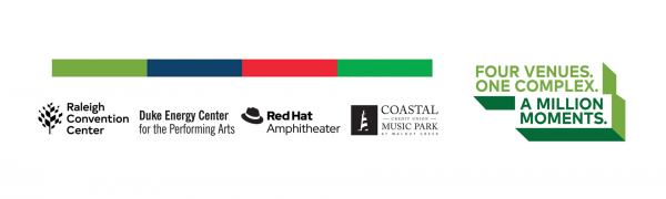 colorful banner light green, dark blue, red, dark green lines below that are 4 logos all black in color Duke Energy Center logo, Raleigh Convention Center logo, Walnut Creek logo and Complex logo with the words One Complex Four Venues A million moments